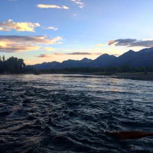 Sunset on the river with the Tetons